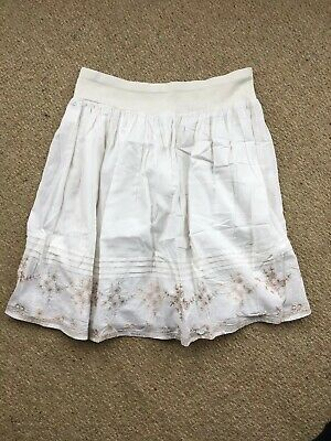 White And Gold Summer Skirt Mothercare Maternity Size 12