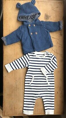 Baby Boys/Girls/Unisex 0-3 Months Marks & Spencer Navy Blue Striped Romper  Coat