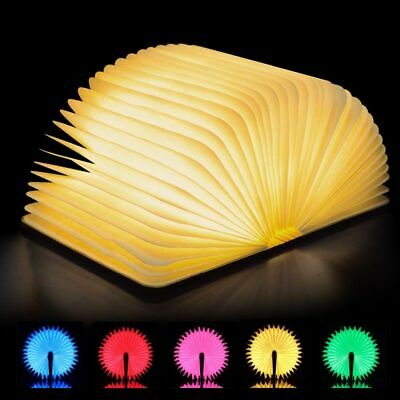 LED Book Light USB Rechargeable Foldable Wooden Night Light Gift Novelty Wood