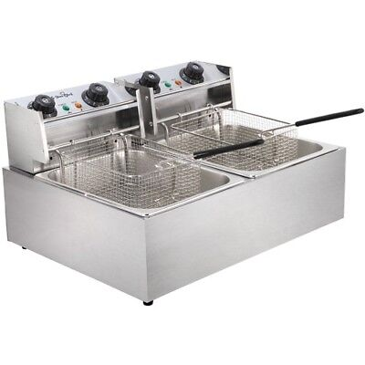 Commercial Electric Deep Fryer Single Double Frying Basket Chip Cooker Kitchen