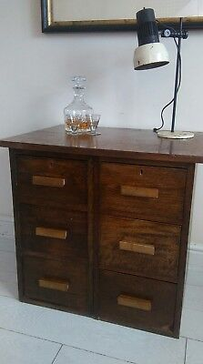 Antique Filing Cabinet solid oak Arts & Crafts 6 drawers Turn of Century.