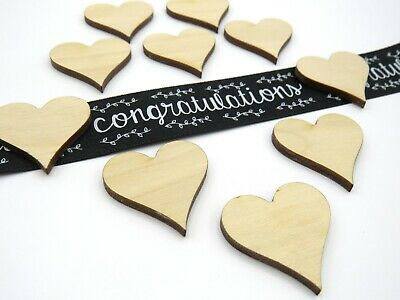 Packs of 10, 3cm Wooden Hearts, Wedding Table Scatter Decorations - Multi Save