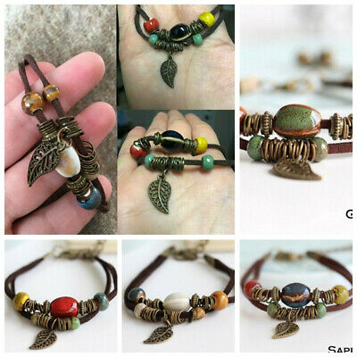 Bohemian Vintage Fashion Wrap Leather Bangle Beads Bracelet For Women Men Gift