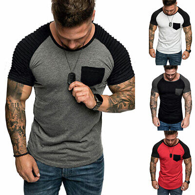 Mens Casual Slim Fit Fitness Gyms Short Sleeve T Shirt Summer Muscle Tees Tops