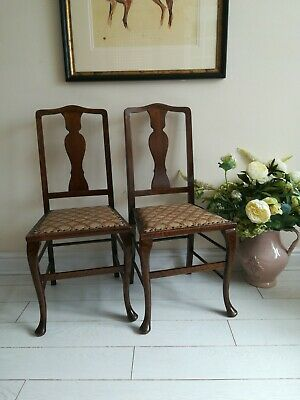 Pair Of Mahogany Queen Anne Carver Chair Dining Chair Antique Chairs