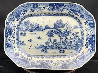Rare Antique Chinese Porcelain Blue White Square Plate 18th Century
