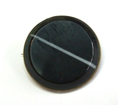 Antique VICTORIAN 1800s Black Banded Glass Round Shape BROOCH