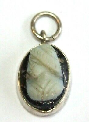 Vintage 1920s Art Deco Solid SILVER Carved Glass CAMEO Pendant