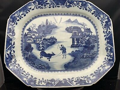 Big Antique Chinese Porcelain Blue White Square Plate 18th Century