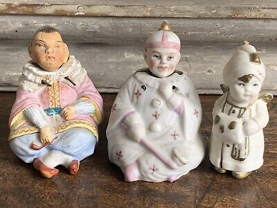Three Antique Porcelain Chinese Nodding Head Figurines