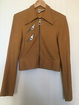 Vintage 70s Mustard Yellow Jacket Coat - Mod Retro Zip 60s Carnaby St - AU 8
