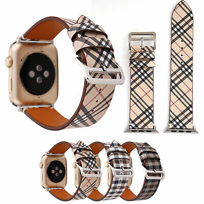 Plaid Leather Watch Band Wrist Strap For Apple iWatch Series 1/2/3/4/5