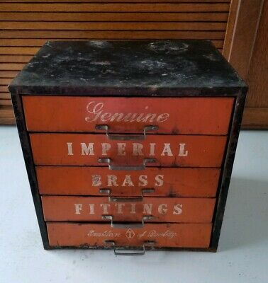 VINTAGE IMPERIAL BRASS 5 Drawer Cabinet Repair Shop Service Gas Station  EMPTY