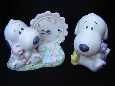 Hallmark Baby Nursery Snoopy Woodstock Clock & Piggy Bank
