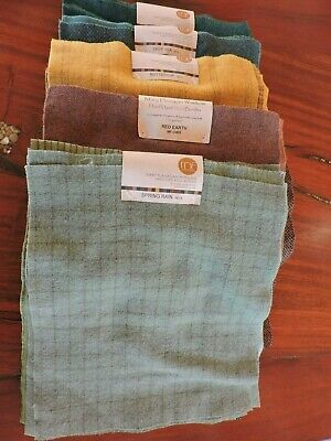 Mary Flanagan Woolens, hand dyed 5 wool bundles w/ 10 sheets per bundle 5 colors