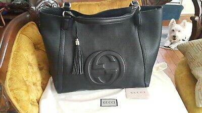 8ae58dd3f077be 100% AUTHENTIC BLACK Gucci Soho Disco Bag With Copy Of Receipt And ...