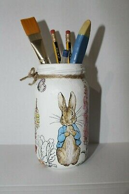Beatrix Potter, Peter Rabbit, Pencil pot/Jar, Handmade/painted Jar, 13cm High
