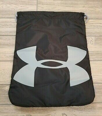 outlet store cff3d 11c28 Under Armour Ua Ozsee Sackpack Black Steel Gray Drawstring Gym Bag Backpack  New