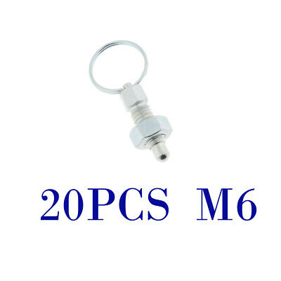 20Pcs M6 Index Plunger with Ring Pull Spring Loaded Retractable Locking Pin