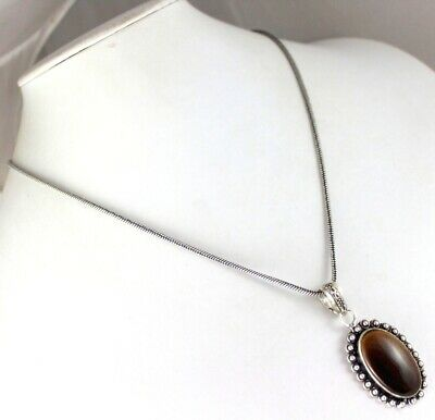 Tiger's Eye Silver Plated Pendant With Chain / Necklace  V-3-231018-30