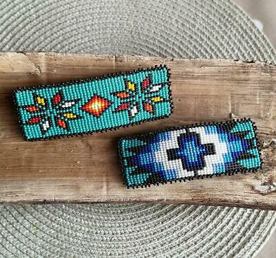 Beaded Hairclip Floral or South West Design Guatemalan Hair Barrette Handmade