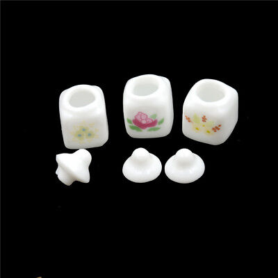 3pcs 1/12 Dollhouse Miniature Cute White Ceramic Storage Jars Kitchen AcceYF