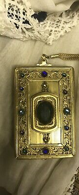 Antique 1920's Art Deco Czech Jeweled Rectangular Compact- Chain Embossed
