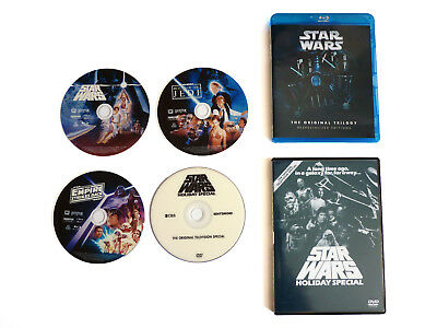 STAR WARS DESPECIALIZED The ORIGINAL TRILOGY BLU-RAY + STAR WARS THE HOLIDAY DVD