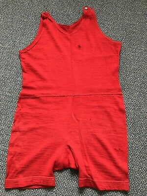 1930s Mens Red Swimming Costume - Large Size