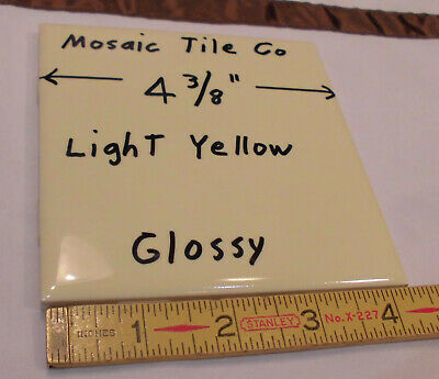 "1 pc. Vintage *Light Yellow* Glossy Ceramic Tiles  4-3/8"" by Mosaic Tile     NOS"