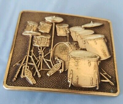BARON 1980 DRUM KIT MUSIC COMMEMORATIVE SOLID BRASS BELT Buckle. Nice