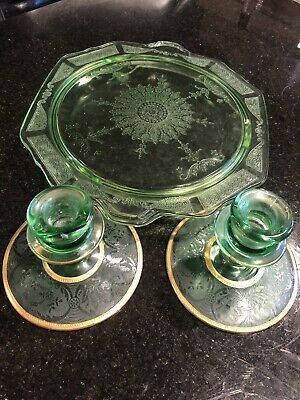 VTG Green Depression Glass Serving Tray/Candy Dish, Set Gold Trim Candle Holders