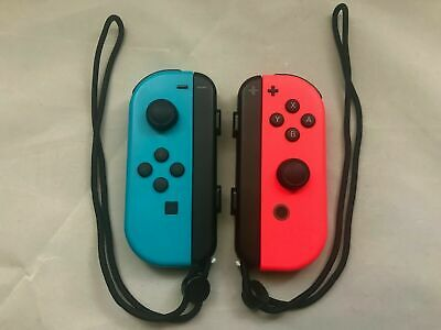 100% OEM GENUINE Nintendo Switch Joy Cons Controller Neon Blue & Red W/ STRAPS