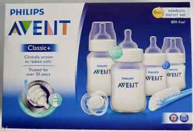 Philips Avent Classic+ Newborn 4 Bottle Starter Kit (Reduce Colic) Baby *New