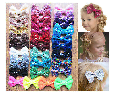 """4"""" New Girls Sequin Glitter Sparkle Hair Bow Clip Pin Accessories"""
