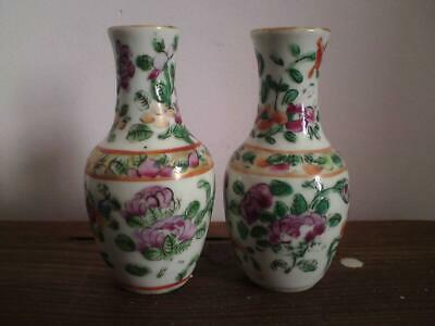 Two miniature antique 19th century Canton Famille Rose vases bottles