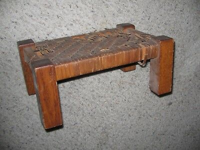 Vtg Antique Mission Wood Arts & Crafts Footstool Stickley Style Stool