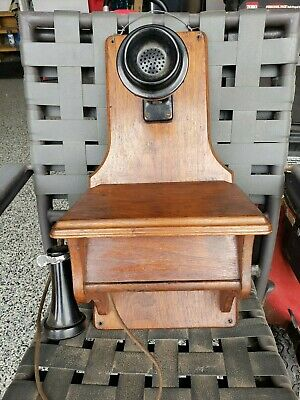 Vintage railroad Wall Telephone Phone Wood Case complete