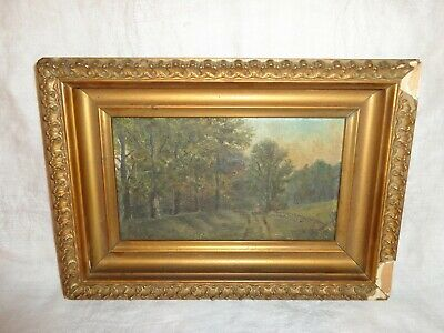 Small Antique or Vintage Oil on Board Painting of a Wooded Landscape, Unsigned