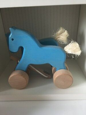 Bajo Pull Along Galloping Horses Blue Wooden Kids Toy
