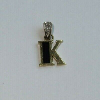 10k solid yellow gold black onyx and diamond letter 'K' pendant charm