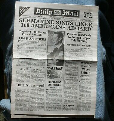 WWII Newspaper for 4 September 1939 – GB Declaration of war against Germany. Thr