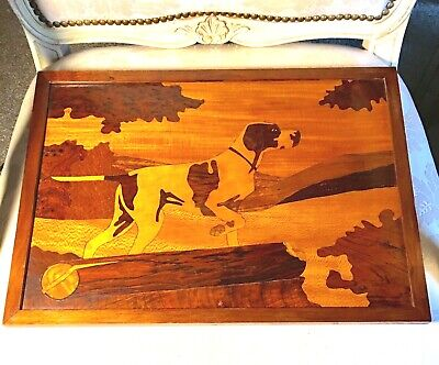 Vintage Artisan Parquet Wood Wall Hanging Tray Irish Setter