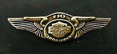 110 Years 1903-2013 Harley-Davidson Motorcycle Biker Pewter Metal Brass Pin
