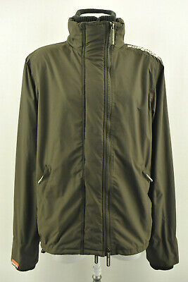 SUPERDRY Womens The Windcheater Jacket Lined High Collar Zip Neck Green Size L