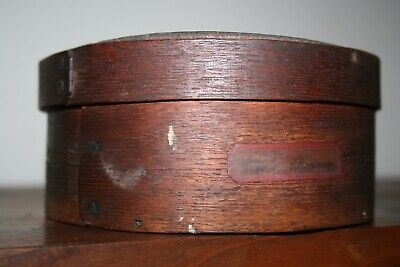 "Antique Round Pantry Box ""Lima Beans"" Label Early American Primitive Folk Art"