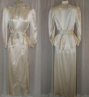 VENEGAS BEVERLY HILLS HAUTE COUTURE Vtg 80s Satin Beaded Wedding/Formal Dress XS