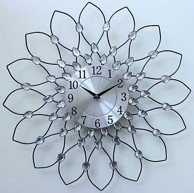 50Cm Clear Diamante Beaded Jewelled Black Metal Spiked Sunflower Wall Clock 158