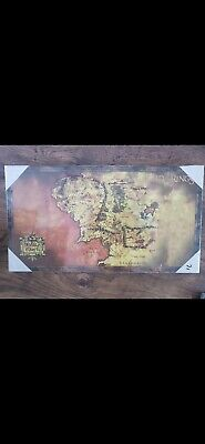 Lord Of The Rings Middle Earth CANVAS PICTURE ON WOODEN FRAME 55CM X 30CM X 2CM