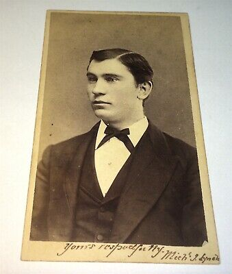 Rare Antique American ID'd Young Man, Michael J. Lynch! New Haven, CT CDV Photo!